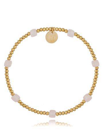 Bransoletka złota z różowymi kwarcami Lidia BSC0977