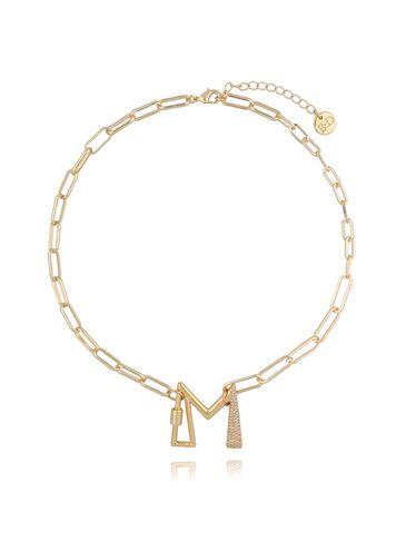Naszyjnik złoty łańcuch z literą M NSL0014