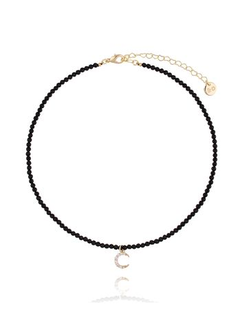Naszyjnik z onyksami i księżycem z kryształkami NTW0051