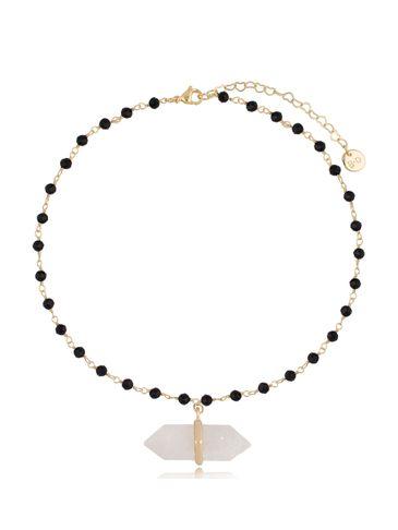 Naszyjnik łańcuszkowy z agatami i zawieszką kryształ górski NPA0391
