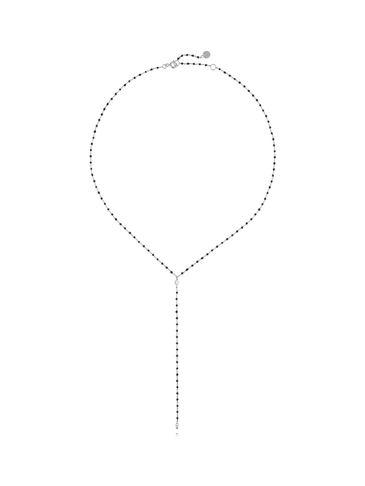 Naszyjnik srebrny z czarną emalią NFA0001