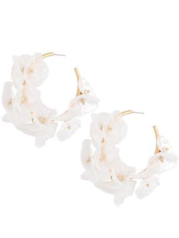 Kolczyki jedwabne kwiaty białe II KBL0700