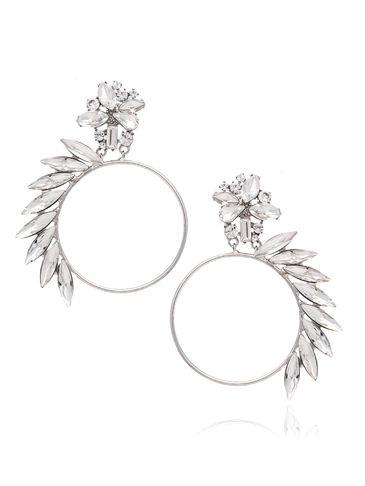 Kolczyki koła srebrne z transparentnymi kryształami KSS0812