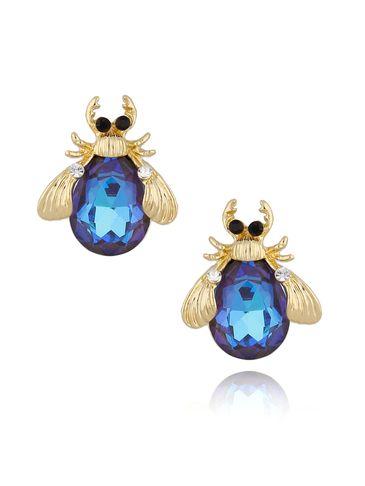 Kolczyki złote żuki z jasno granatowymi kryształkami KMI0133