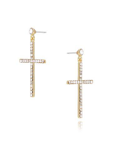 Kolczyki złote krzyżyki z transparentnymi cyrkoniami KRG0573