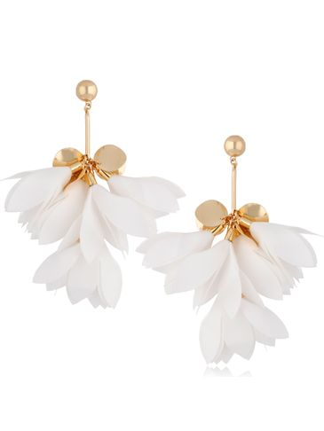 Kolczyki jedwabne kwiaty białe KBL0798