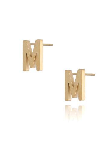Kolczyki wkrętki złote  z literką  M KAT0064