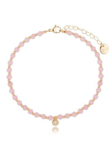 Bransoletka na kostkę z kwarcem różowym BNTW0040