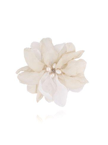 Broszka / spinka kwiat z perełkami biało beżowa BRBL0020