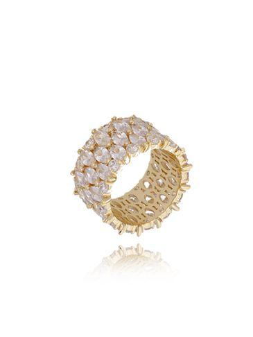 Pierścionek złoty z przezroczystymi kryształkami PRG0096  rozmiar 19