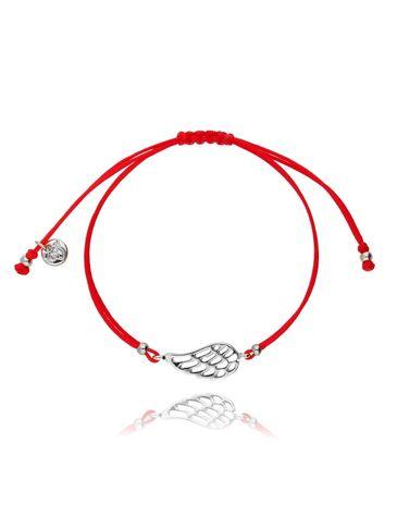 Bransoletka na sznurku czerwona - srebrne skrzydełko BGL0411