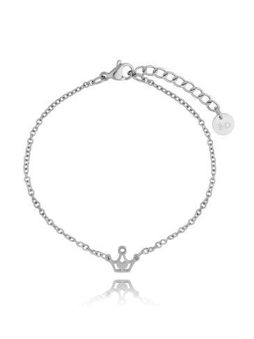Bransoletka srebrna ze stali szlachetnej z koroną BSA0121