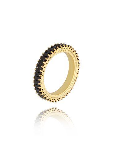 Pierścionek złoty z czarnymi kryształkami Amaris PRG0193 rozmiar 9