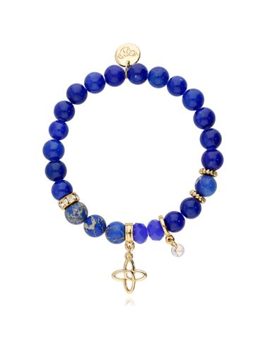 Bransoletka niebieska z jadeitu i jaspisu - lilijka BMMH3862