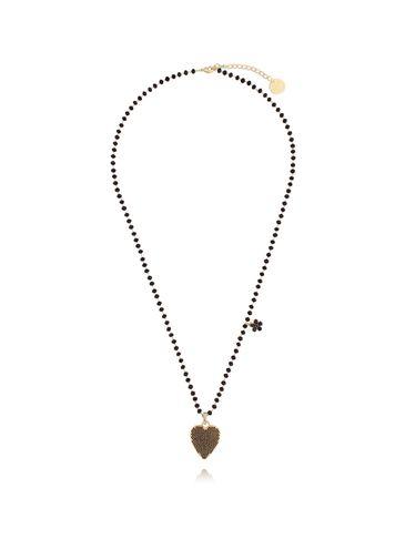 Naszyjnik ze szklanymi kryształkami i czarnym sercem NMU0010