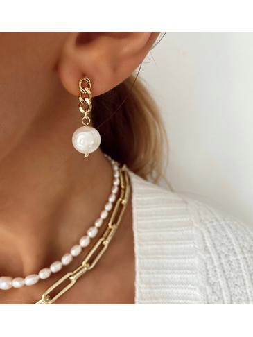 Kolczyki złote z perłami i łańcuszkiem KPE0023