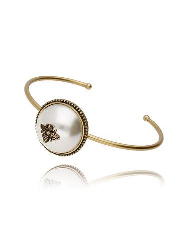 Bransoletka złota obręcz z masą perłową BMI0019