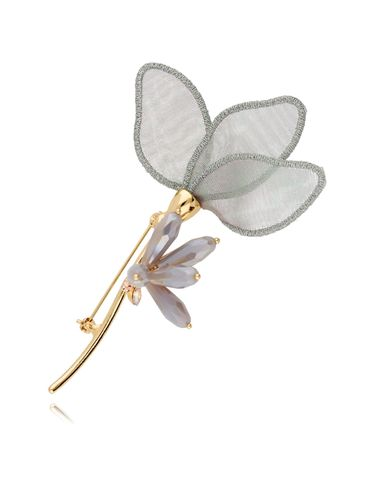 Broszka zielona lilia z kryształkami BRLI0007