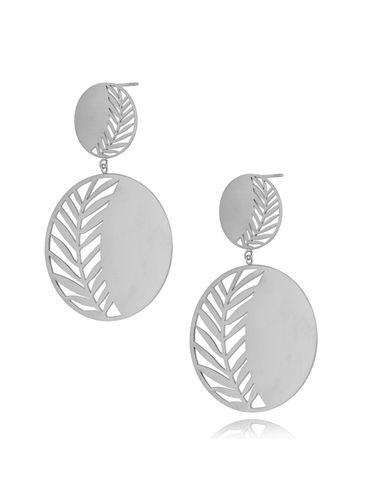 Kolczyki srebrne ze stali szlachetnej Silver Leaf KSA0280