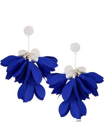 Kolczyki jedwabne kwiaty granatowe KBL0802