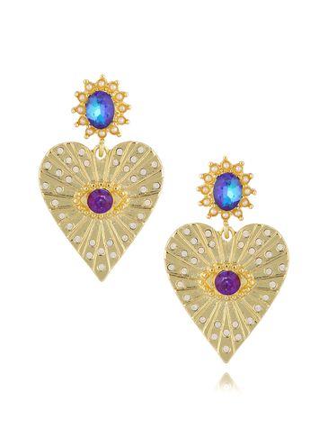 Kolczyki serca z fioletowymi kryształkami KRG0643