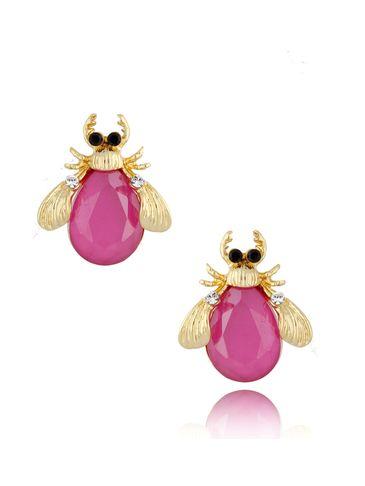 Kolczyki złote z kryształowymi chrabąszczami Pink May KMI0182