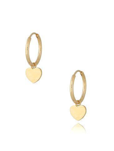 Kolczyki kółka pozłacane ze stali szlachetnej Gold Hearts KSA0291