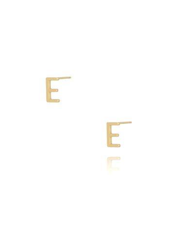 Kolczyki wkrętki z literką E złote KAT0005