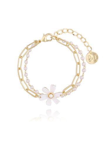 Bransoletka złota z białym kwiatem BLI0001