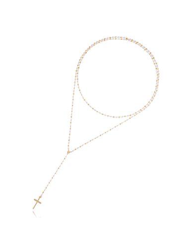 Naszyjnik różaniec Olivia z perełek Pearl White II NOA0056