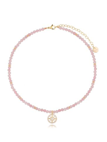 Naszyjnik z kwarcem różowym i różą wiatrów NTW0192
