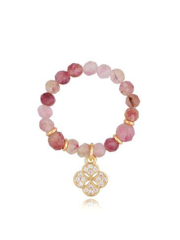 Pierścionek z różowymi kwarcami i nawieszką koniczynka PTW0183