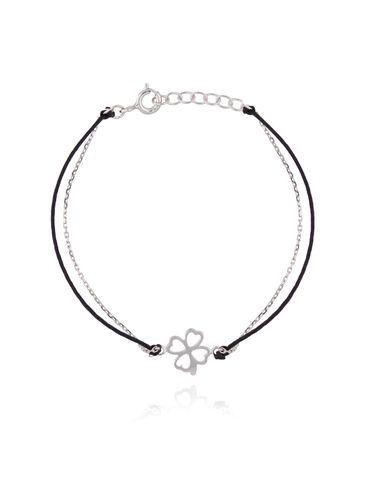 Bransoletka srebrna koniczynka na czarnym sznurku BSE0086