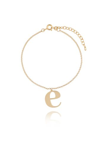 Bransoletka srebrna pozłacana z literką E BAT0076