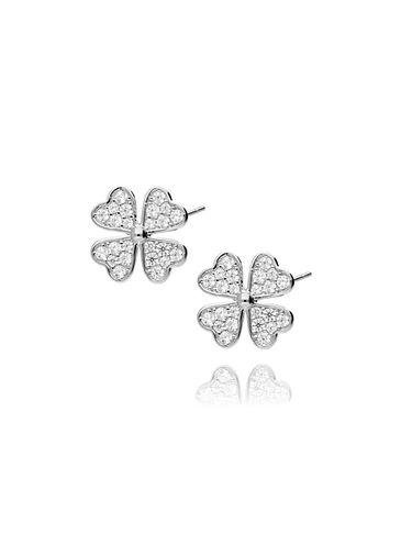 Kolczyki srebrne kwiatki z cyrkoniami KGM0013