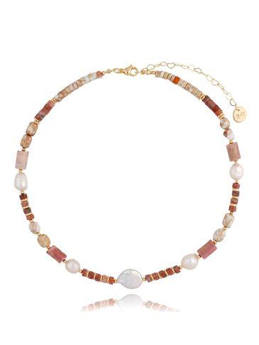 Naszyjnik różowy z jaspisami i perłami NPA0338