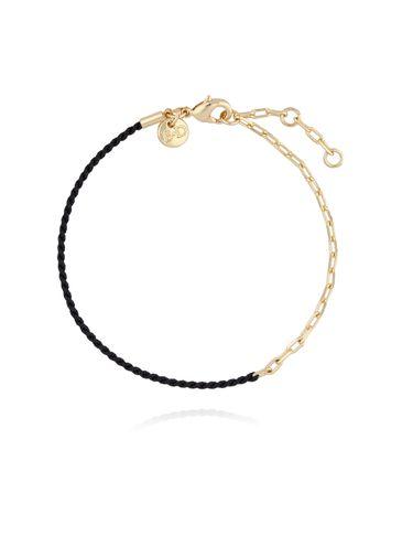 Bransoletka z czarnym sznurkiem i złotym łańcuszkiem BLB0070