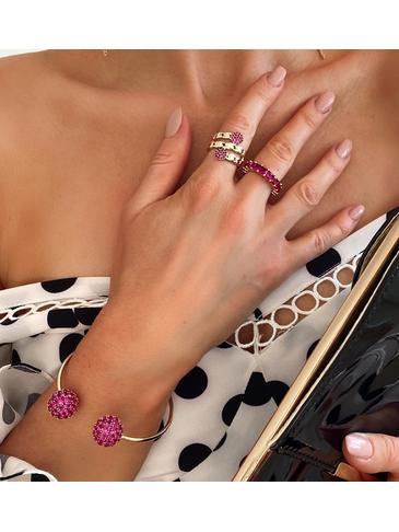 Bransoletka złota obręcz z rubinowymi kryształkami BRG0092