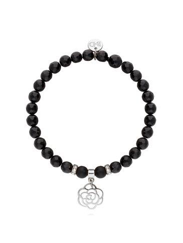 Bransoletka czarna z onyksu - róża BMMH3778