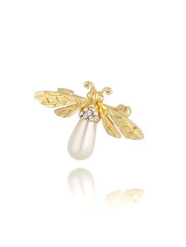 Broszka złota z owadem z perłą  BRMI0120