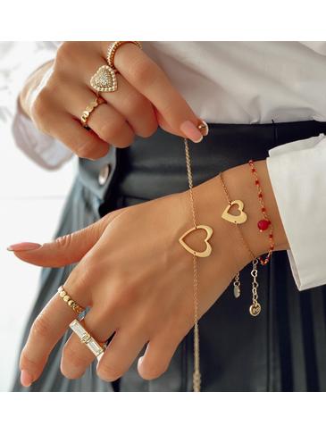 Bransoletka złota z sercem ze stali szlachetnej BSA0075