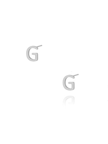 Kolczyki wkrętki z literką G srebrne KAT0006