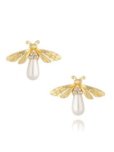 Kolczyki złote owady z perłą KMI0177