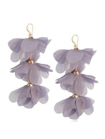 Kolczyki jedwabne kwiaty potrójne szaro niebieskie KBL0794