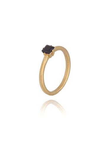 Pierścionek złoty ze stali szlachetnej z czarnym kryształkiem PSA0068 R 15