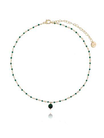 Naszyjnik z  z kryształkami i zielonym tygrysim okiem NOA0043
