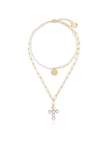 Zestaw dwóch naszyjników z perłami, krzyżem i monetą NRG0159