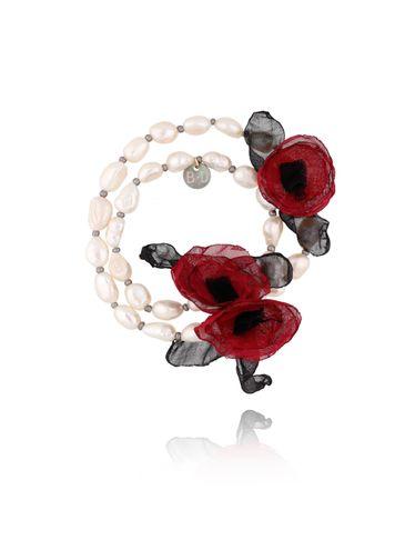 Bransoletka z perłami i bordowymi kwiatami  BBL0154