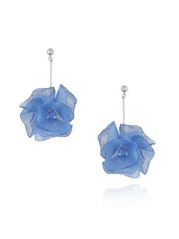 Kolczyki kwiaty jedwabne niebieskie KBL0363