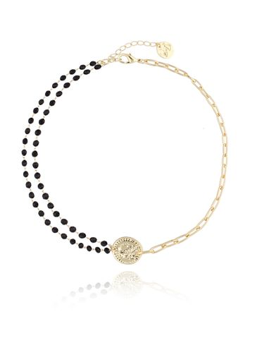 Naszyjnik z monetą i czarnymi kryształkami NRG0130